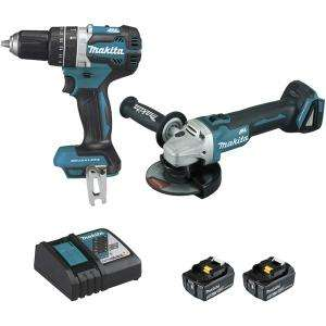 Ensemble de 2 machines 18 V Li-Ion 5 Ah (DGA506 + DHP484) MAKITA DLX2210TJ1