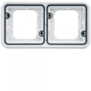 cubyko Support d'encastrement double horizontale associable blanc IP55 HAGER WNA402B