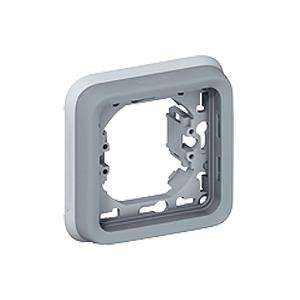 PLAQUE + SUPPORT 1 POSTE GRIS PLEXO LEGRAND 069681